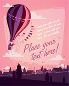 Hot air balloon. Romantic background