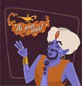 The genie of the lamp. Cartoon character