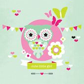 Cute pastel owl and butterfly illustration baby girl birth announcement card template in vector