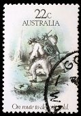 AUSTRALIA - CIRCA 1981: A stamp printed in Australia dedicated to the gold rush era, shows on route