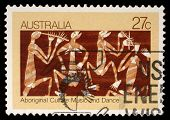 AUSTRALIA - CIRCA 2000: A stamp printed in Australia shows Aboriginal culture, music and dance, circ