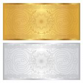 stock photo of blank check  - Gold and silver Gift Voucher  - JPG