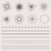 Guilloche pattern (watermarks), borders for banknote, money design, currency, cheque, check, voucher
