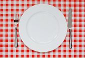 Place Setting On Red Gingham Tablecoth