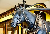 picture of blinders  - A statue of a black work horse by an old train car - JPG