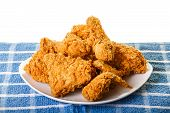 Golden Fried Chicken On Plate And Placemat