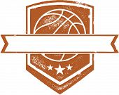 Basketball Crest with Blank Banner