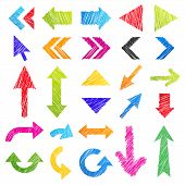 Set: colorful hand-drawn arrows (icons)