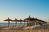 stock photo of costa blanca  - Sunshades early morning on Carabassi beach Costa Blanca Spain - JPG