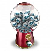 pic of gumball machine  - The word Idea on gumballs in a machine dispensing innovative thoughts - JPG