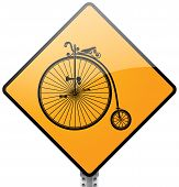 stock photo of penny-farthing  - Retro penny farthing big wheel bicycle sign - JPG