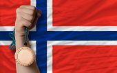 Bronze Medal For Sport And  National Flag Of Norway