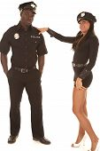Man And Woman Cop She Flirting