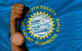 Bronze Medal For Sport And  National Flag Of South Dakota