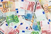 a lot of euro banknotes