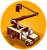 picture of cherry-picker  - Illustration of a access crane equipment bucket truck cherry picker pick - JPG