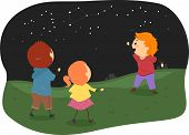 Illustration of Stickman Kids Studying Constellations