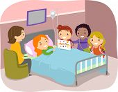 pic of stickman  - Illustration of Stickman Kids Paying a Visit to a Friend in the Hospital - JPG