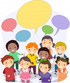 stock photo of stickman  - Illustration of Stickman Kids with Blank Speech Bubbles - JPG