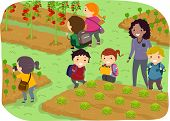 Illustration of Stickman Kids School Trip to a Vegetable Garden