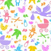 stock photo of baby doll  - seamless pattern with colorful silhouettes of baby items - JPG