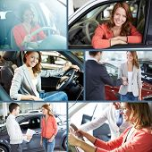 Collage of elegant woman buying a new car in automobile center and sitting inside it
