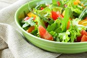 stock photo of rocket salad  - fresh healthy salad with tomatoes and arugula