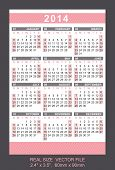 Pink Pocket Calendar 2014, Start On Sundaysize: 2.4