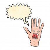 retro cartoon spooky shrieking hands