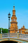a view of famous Plaza de Espana in Seville, Spain