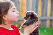 image of hairy  - Beautiful kid girl portrait with puppy chihuahua gray dog - JPG