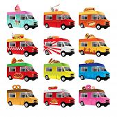 stock photo of ice-cream truck  - A vector illustration of food truck icon designs - JPG
