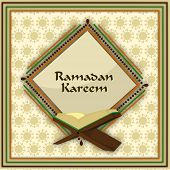 picture of islamic religious holy book  - Holy month of muslim community Ramadan Kareem concept with open islamic religious book Quran Shareef on abstract background - JPG