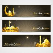 picture of namaz  - vector set of ramadan kareem and eid headers - JPG