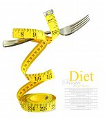 foto of light weight  - Balanced diet represented by a fork on measuring tape - JPG