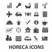 horeca: hotel, restaurant, cafe icons, signs set, vector