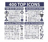 400 top icons set: business, website, media, music, travel, nature, holidays, party, technology, off