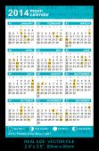Pocket Calendar 2014 With Phases Of The Moon/ Gmtvector Size: 2.4