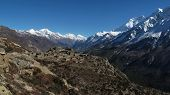 Beautiful old village surrounded by high mountains, Nepal