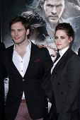 Sam Claflin and Kristen Stewart at a screening of