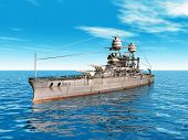 image of battleship  - Computer generated 3D illustration with the American Battleship USS Arizona from the second world war - JPG