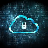 Cloud networking concept: Cloud With Padlock on digital background