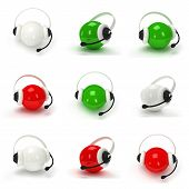 Set of 3d shiny orbs with headset isolated over white