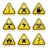 pic of biological hazard  - Vector attention yellow and black signs with reflection isolated on white - JPG