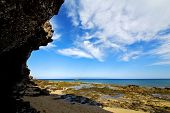 In Lanzarote   Spain  Rock Stone Sky Cloud Beach