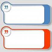 picture of quotation mark  - set of two abstract text boxes with quotation mark - JPG