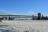 pic of freezing temperatures  - Ice chunks on the East River becuase of freezing temperatures - JPG