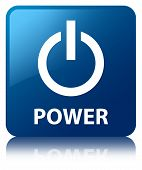 Power Glossy Blue Reflected Square Button