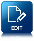 Edit Document Glossy Blue Reflected Square Button