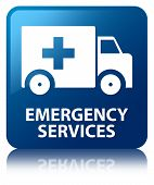 Emergency Services Glossy Blue Reflected Square Button